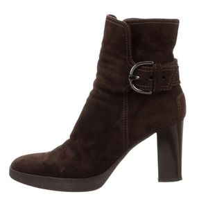 NEW TOD'S SUEDE BROWN BUCKLE ANKLE BOOTIES